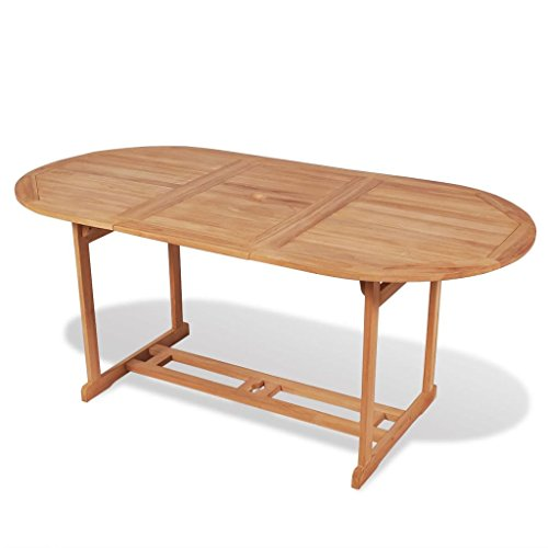 Festnight Table de Salle à Manger Jardin en Teck Table Ovale 180 x 90 x 75 cm