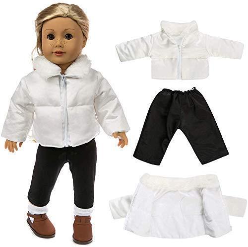 1 set di vestiti alla moda per bambole, vestiti invernali caldi e carini giacche, cappotti e pantaloni, set di accessori adatti per bambole americane da 45 cm