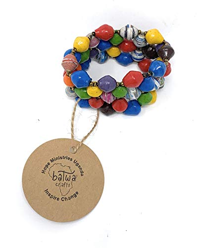 HMU Batwa Crafts Fair Trade Ugandan Handmade Recycled Paper Bead Multi-Colored Stretch Bracelet