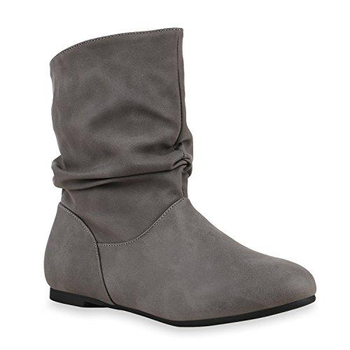 Damen Schlupfstiefel Zierknöpfe Bequeme Stiefeletten Kunstleder Schuhe 125855 Grau Camargo 40 Flandell