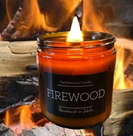 FIREWOOD - Crackling Wood Burning Fireplace Candle in Amber Jar with Black Lid New 16 oz. Since 2012