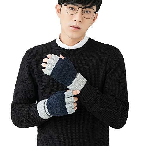WSKTRB Gestrickte Handschuhe,Winter Fashion Halben Finger Handschuhe Für Männer Und Frauen Paare Fingerlose Plus Samt Warme Outdoor Sport Navy Blue Stripe Handschuhe