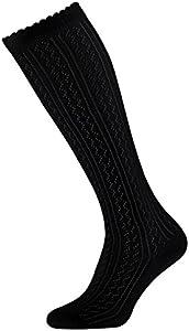 Tobeni 1 Par Mujer Adolescentes Calcetines hasta la rodilla Algodón Tradicionales Dirndl Crochet Look Largo Color Negro Tamano 35-38