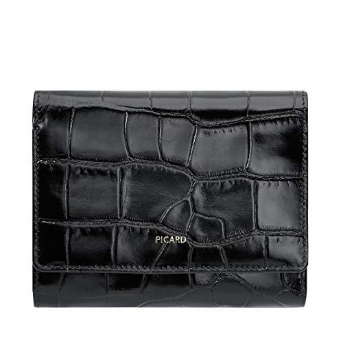 Picard, Damen Portemonnaie, aus mit Krokoprägung aus Leder, in der Farbe Schwarz, aus der Serie Weimar 1, 731680V001