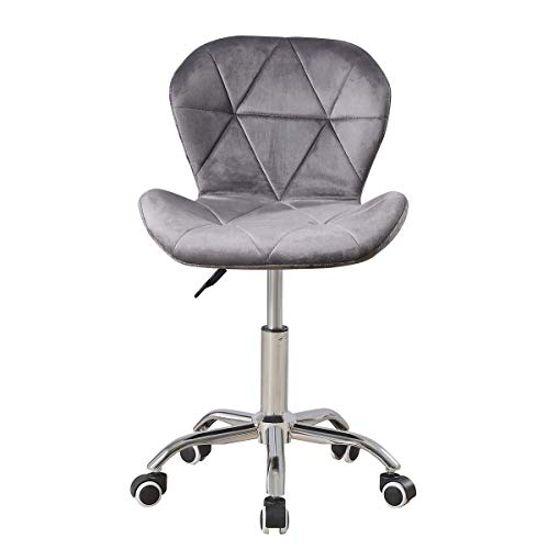 Grey Velvet Desk Chair for Home Office Chair without Arms Ergonomic Computer Chair Height Adjustable Swivel Chair with Backrest