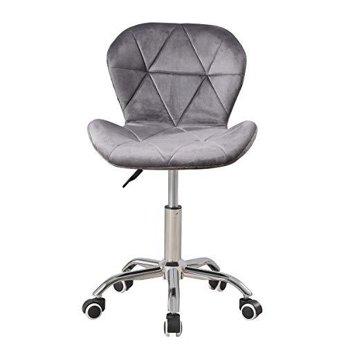 Grauer Samt Schreibtischstuhl für Home Office Stuhl ohne Armlehnen Ergonomischer Computerstuhl Höhenverstellbarer Drehstuhl mit Rückenlehne