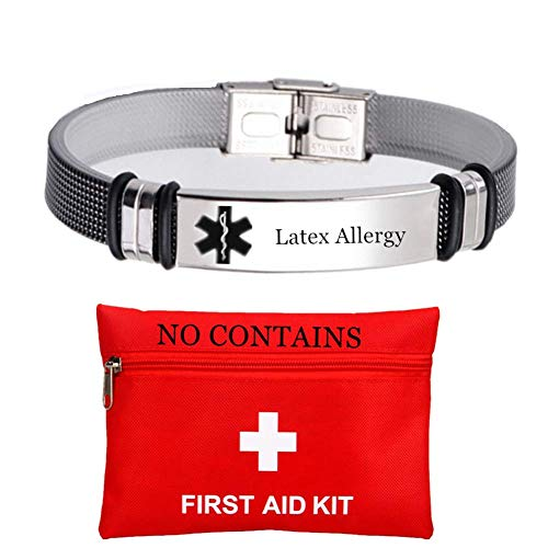 Stainless Steel Customized Medical Latex Allergy Bracelets for Women Men Personalized Allergic Alert Bangle Daily Healthcare for Emergency with Aid Bag,Customize Now