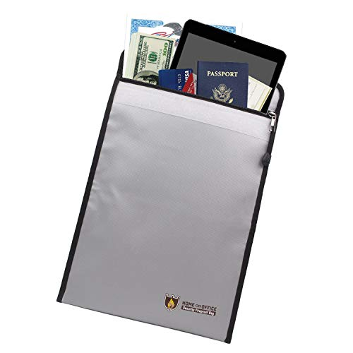 """Fireproof Document Bag Waterproof Pouch Envelope, 15"""" x 11"""" Silicone Coated File Folder Holder Bag Money Safe Bag with Zipper Closure for Cash, Important Documents, Jewelry and Passport"""