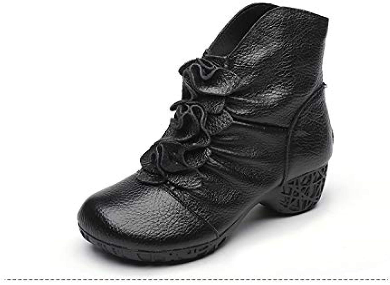 Soft Leather Ankle Boots Zipper Vintage Block Heels Winter shoes (color   Black, Size   CA 8)