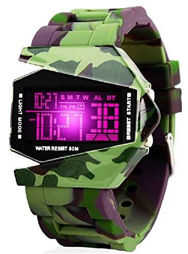 QMMCK Kleurrijke verlichting persoonlijkheid creatief horloges camouflage vliegtuig tabel mannen waterdicht LED elektronische horloges