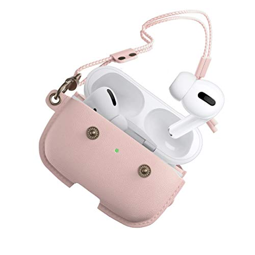 Woodcessories - AirPod Pro leren koffer met ketting, AirCase (Rose Nude)