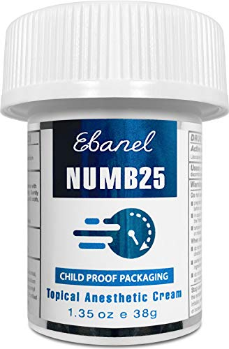 Ebanel 5% Lidocaine Topical Numbing Cream Maximum Strength, 1.35 Oz, Numb 25 Pain Relief Cream Anesthetic Cream Infused with Aloe Vera, Vitamin E, Lecithin, Allantoin, Secured with Child Resistant Cap