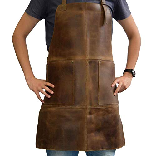 Hide & Drink, Durable Leather Apron Utility Tool Pockets Adjustable Chef Butcher Metalworker Carpenter Blacksmith Heavy Duty Wear, Handmade :: Bourbon Brown