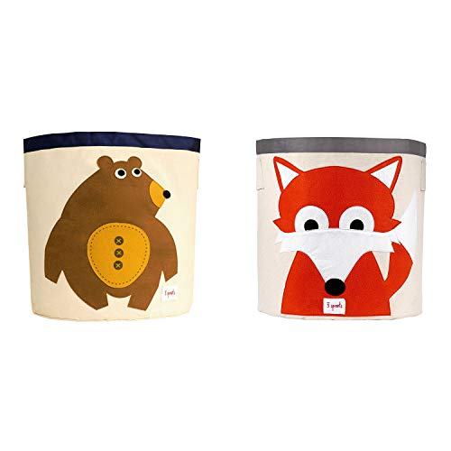 3 Sprouts Canvas Storage Bin Laundry and Toy Basket for Baby and Kids, Bear and Fox
