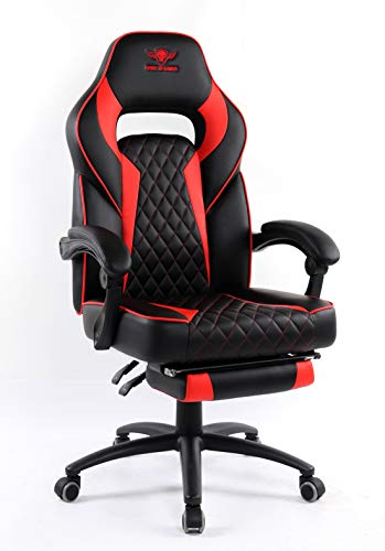 Spirit Of Gamer – Mustang Series – Chaise Gaming - Simili Cuir capitonné – Repose Pieds – Coussin Nuque & Lombaires – Accoudoirs Articulés – Inclinable 135° - Logo Surpiqué (Rouge)