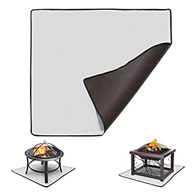 KOFAIR Square Fire Pit Mat (36 x 36 inch), Patio Fire Pit Pad, Fireproof Mat Deck Protector for Outdoor Wood Burning Fire Pit & BBQ Smoker, Fire-Resistant Grill Mat for Grass Lawn Protection