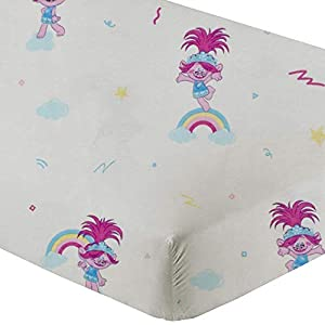100% Flannel Cotton Crib Fitted Sheets for Girls/Boys (28″ W X 52″ L x 8″ Drop, Smurfs) Pack of 2 Flannel Crib Fitted Sheet, Smurfy Girl with Dazzling Stars and Colourful Rainbow