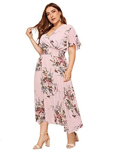Milumia Women Plus Size Summer Floral Boho High Waist V Neck Maxi Dress Pink 4X-Large Plus