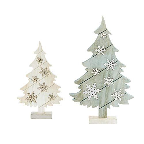 Pureday Weihnachtsdeko - Deko-Tannen 2er Set - Tannenbaum - LED Beleuchtung - Holz