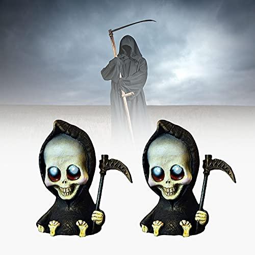 Bambola Spaventosa,Bambola Grim Reaper,Miniatura della Morte Carina, Figurine in Miniatura Grim Reaper con Falce,Decorazioni per La Casa di Scultura di Halloween C