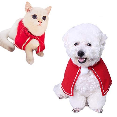 Kalolary kat kerstmuts, dier kerst kostuum rode Poncho kaap kat hond kostuums warme kaap huisdier kleding vakantie halloween accessoire
