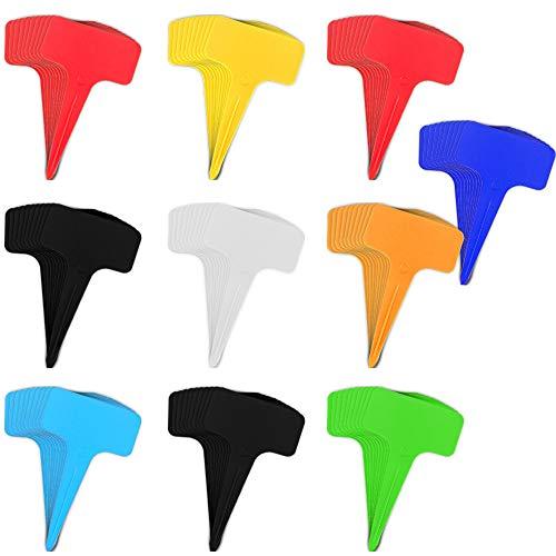 ZoneYan 100 Pezzi Etichette in Plastica per Piante, Etichette per Piante Impermeabili, Targhette per Piante da Giardino, Etichette Piante Esterno, Marcatori per Piante in Plastica, 10 Colori Casuali
