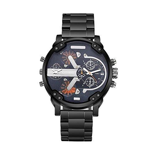 DAZHE Militäruhren CAGARNY Quarzuhren, Große Zifferblatt Herrenuhr doppelte Zeitzone Quarzuhr Uhr männlich (Color : 2)