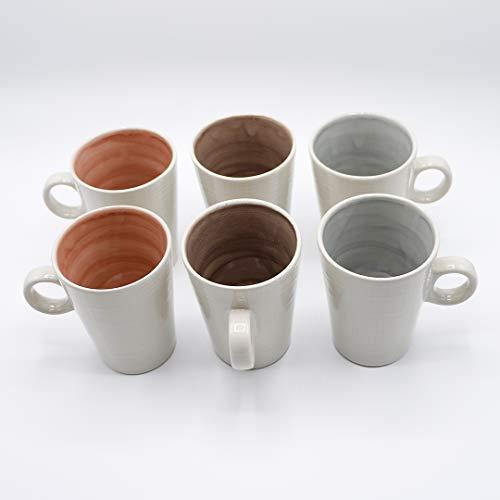 Inde ASORBITOS - Juego de 6 Tazas mug - Taza Desayuno - cerámica - Color Blanco Roto - 30cl - Interior Color Diferente