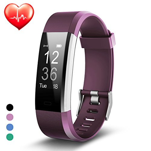 Fitness Watch, Fitness Tracker, Activity Tracker Smart Band with Sleep Monitor, Step Counter Watch, Smart Bracelet Pedometer Wristband with Replacement Band for iOS & Android (Purple)