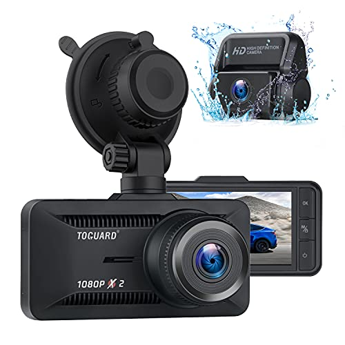 Toguard Dual 1080P Dashcam Vorne und Hinten, Autokamera mit Superkondensator, Car Camera GPS und 128GB Unterstützung, 3\'\' 170° Nachtsicht Dash Cam, WDR, G-Sensor, Parküberwachung, Loop-Aufnahme