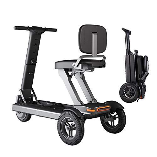 YF-Mirror Scooter de Movilidad de 3 Ruedas - Dispositivo de Silla de Ruedas móvil eléctrico para Adultos - Plegable y Compacto para Viajes - Scooters eléctricos de Viaje de aviación multiterreno