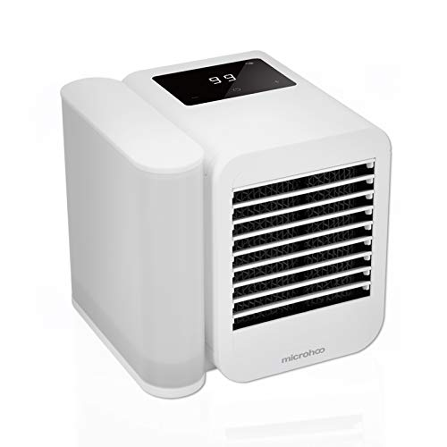 microhoo 3-in-1 Tragbare Mobile Klimaanlage, Desktop Mini Ventilator Luftkühler Air Verdunstungsgerät, Air Cooler Klima Anlage Luftbefeuchtung mit USB-Kabel, 99 Geschwindigkeiten, 1L Wasssertank