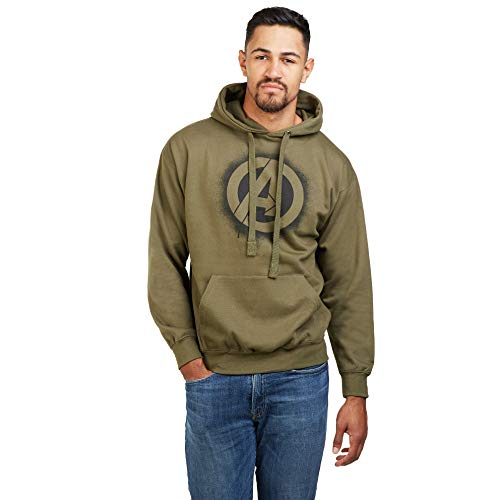 Marvel The Avengers Stencil Logo Hood Sudadera con Capucha, Verde (Olive Green Old), Large para Hombre
