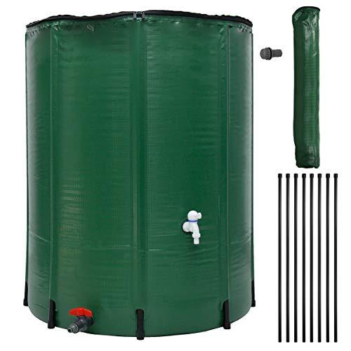 ECD Germany Tanque de Agua de Lluvia Plegable 500 L con Grifo Ø80 x 98 cm Fabricado en PVC Verde...