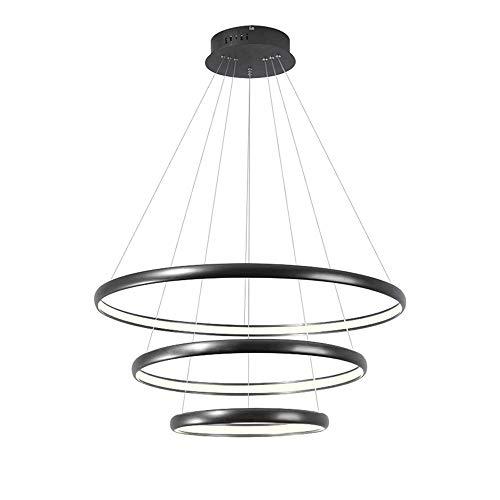 Moda Moda Colgante Luz Negro Aluminio 3-Anillos (20 + 40 + 60cm) Lámpara colgante Tricolor Dimmable Droplight para dormitorio Sala de estar Comedor Cocina [Clase de energía A +]