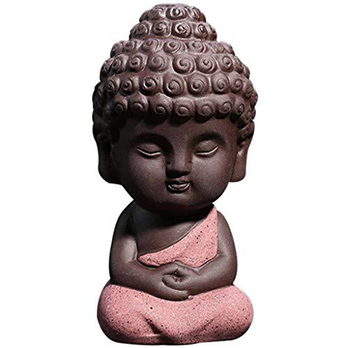 JETTINGBUY Cute Small Buddha Statue Monk Figurine tathagata India Yoga Mandala Sculptures (Red)