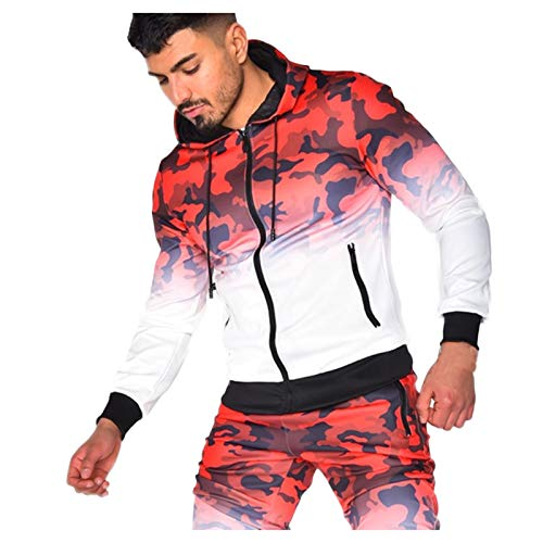 Athletic T-Shirt Hoodie for Men Camouflage Hooded Pullover Long Sleeve Sweatshirt T-Shirts Blouse with Zipper Pockets