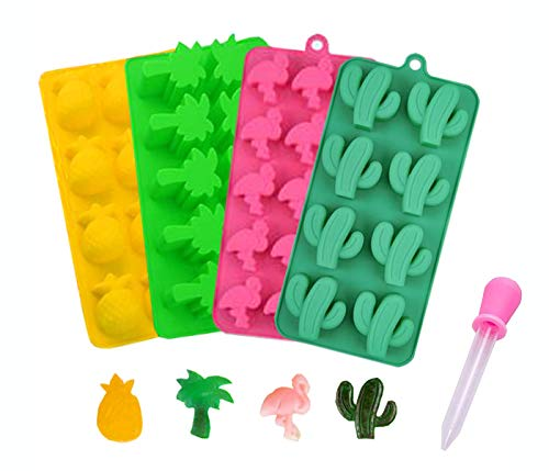 Silikon-Formen für Süßigkeiten, Kaktus, Flamingo, Kokosnussbaum und Ananas, für die Herstellung von Süßigkeiten, Gelee-Zucker, Schokolade, Eiswürfelform – 4 Packungen mit 1 Tropfer multi
