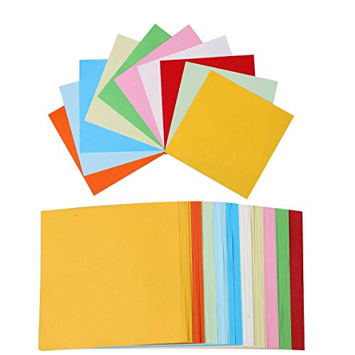 Papier Origami,Feuille Couleur 100 Couleurs Papier Feuilles carrées d'Origami Papier Coloré pour Bricolage Artisanat pour la Décoration de Fête de Jouets pour Enfants,10cm