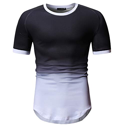 Jmsc Magliette Uomo T-Shirt Estive Maniche Corte Magliette Girocollo Stampate Patchwork Slim Fit Camicie Casual Contrasto Base Camicie Sportive Uomo Camicie Bianche Uomo Altri Modelli M