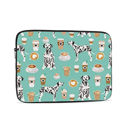NFDF Dalmatians Cute Mint Coffee Best Dalmatian Dog Print Laptop Sleeve Bag - Evecase 13 Inch Neoprene Universal Sleeve Zipper Protective Cover Case for Notebook