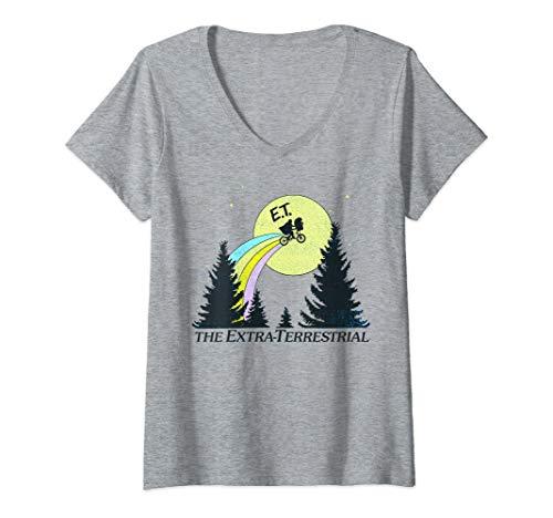 Womens E.T. The Extra-Terrestrial Rainbow Bike Trail Sketch V-Neck T-Shirt