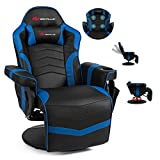 POWERSTONE Gaming Recliner Massage Sofa Ergonomic PU Leather Gaming Chair with Footrest Cup Holder Headrest and Side Pouch, Living Room Chair Home Theater Seating (Navy Blue)