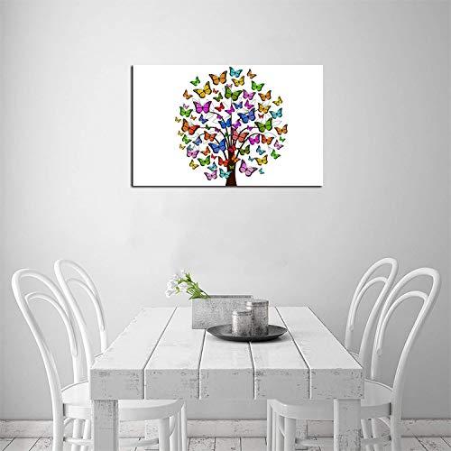ZHOUHAOMAOYI Lienzo decorativo de pared con diseño de árbol de mariposas, lienzo para decoración del hogar, 40 x 30 cm