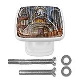 Juego de 4 tiradores de cajón y pomos para cajones con tornillos, cristal de cristal, para cajones, armarios, armarios, catedrales, 35 mm