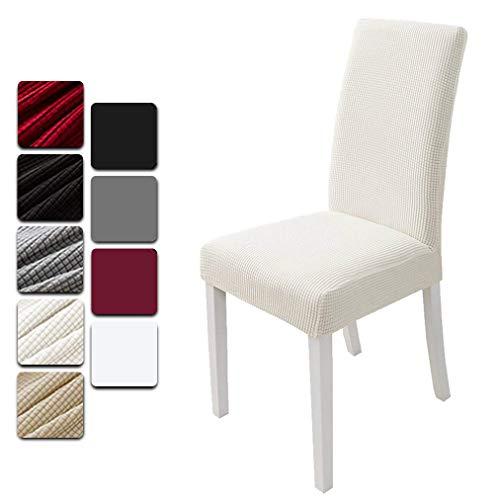 Dioxide Fundas para Sillas Pack de 4 Fundas Sillas Comedor, Fundas Elásticas Chair Covers Lavables Desmontables (Blanco-Grueso,Paquete de 4)