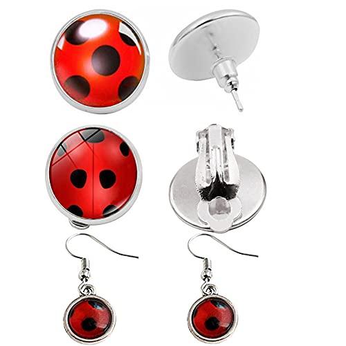 Pendientes Ladybug con diseño de mariquita para niñas, con clip, para disfraz, cosplay, accesorios para niños, fiestas de cumpleaños, regalos