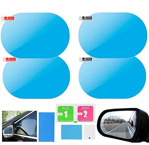 4 Películas Protectora de Espejo Retrovisor de Espejo retrovisor del coche Película impermeable a prueba de lluvia HD Nano Etiqueta protectora transparente para espejos de coche y ventanas laterales