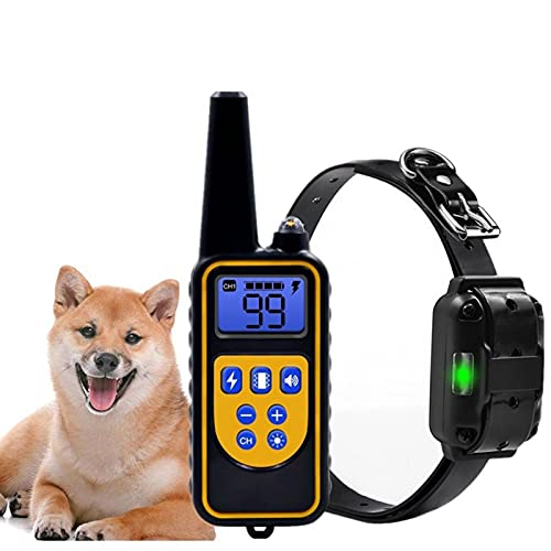 Garuot Collar de Entrenamiento de Perros, Collar de Entrenamiento de Perros Remoto eléctrico de 800 m Pantalla LCD Recargable Impermeable para Todo tamaño Modo de vibración de Choque
