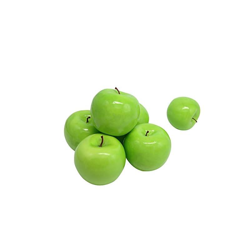 silk flower arrangements maggift artificial fruits 6 pack,decorative fruit (apple green)